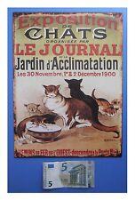 """Targa vintage """"Exposition de chats"""" (gatti), metallo, cm 33x25"""