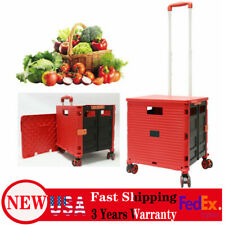 Portable Folding Shopping Cart Rolling Trolley Utility F Travel Grocery Laundry