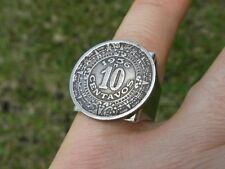 Vintage Mexican Coin Aztec calendar 10 centavos Adjustable rustic ring steampunk