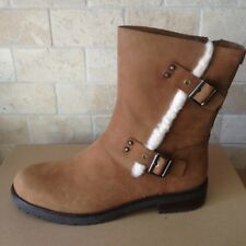 UGG Niels Water-resistant Chestnut Leather Moto Zip Short Boots Size 8 Womens