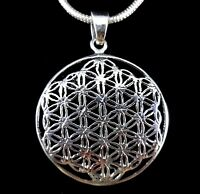 Solid 925 Sterling Silver Tree of Life Kabbalah/Mandala FLOWER OF LIFE Pendant