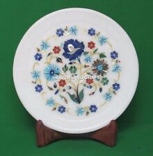 8'' Floral Marble Plate Multi Marquetry Kitchen Inlaid Occasionally Gifts H4531