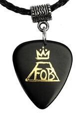 Fall Out Boy Black / Gold Logo Necklace Guitar Pick Plectrum Black Twist Cord