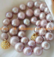 Long 20 inch 7-8mm Genuine Natural Lavender Akoya Cultured Pearl Necklace