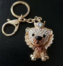 NEW LION KING BROWN AND CLEAR CRYSTALS KEY CHAIN BAG/PURSE CHARM