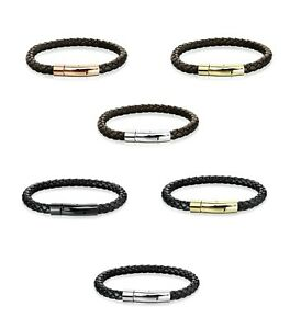 Men Braided Bolo Leather Bracelet W/ Stainless Steel Locking Clasp - Black Brown