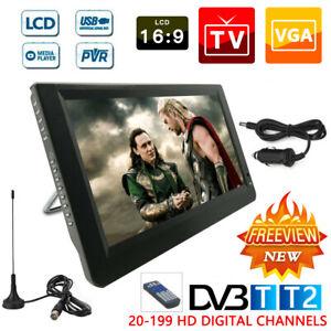 "12"" Tragbarer Fernseher Mini TV 1080P HD DVB-T/-T2 Camping für Auto Mediaplayer"