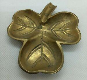Vintage Brass Irish Lucky Shamrock Pin Coin Trinket Dish