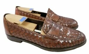 BRAGANO BY COLE HAAN ITALIAN WOVEN WEAVED SHOES PENNY LOAFERS BROWN SIZE 9M