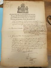 FRANCOIS DE LA ROCHEFOUCAUD COMMANDANT LA VILLE DE LYON  REGIMENT GRISON 1749