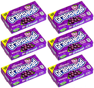 6x The Original Grapehead Grape Candy American Sweets - New