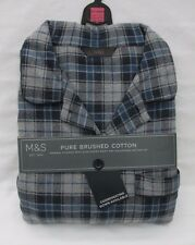 Men's Marks and Spencer Blue & Grey Thermal Check Long Sleeve Pyjamas Size XXL