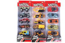 Cast Metal 15 Pcs. Sports Car Construction Vehicles Rescue an Emergency Cars