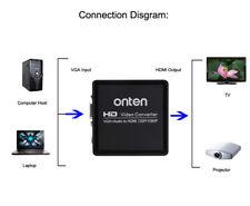 VGA To HDMI 1080P HD Video Converter Box + Audio to TV Projector AV HDTV Adapter
