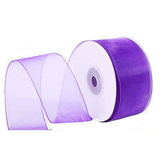 "1/4"" Plain Sheer Organza Nylon Ribbon 25 Yards - Purple"