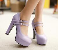 Plus Size Women pump shoe high heel round toe platform buckle ankle boots sZ