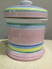 Caleca Hand Painted Italian Ceramic Flour Canister Cookie Jar- pink blue yellow