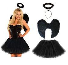 Dark Fallen Angel Fancy Dress Costume Halloween Party Black Fairy - Teen & Adult