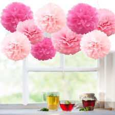 Wedding decorations 9 tissue paper pompoms - 2 sizes - party - pom poms