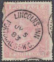 1874 QV SG130 5s Rose GE Plate 4 Blued Paper Spacefiller CV £4,800 Scarce