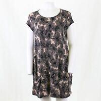 Masai Dandelion Puff Retro Print Lagenlook Pocket Jersey Tunic Dress S OTOT