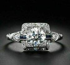 Engagement Ring 925 Sterling Silver 1.80Ct Round Brilliant Moissanite Art Deco