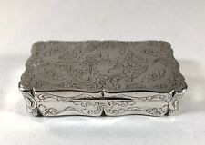 Antique Solid Silver Heavy Table Snuff Box Gilt 19th Century Victorian