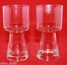 Vintage Set of 2 Barware Footed Clear Tumblers Drinking Glass 4 3/4 inch Tall