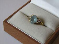 Aquamarine and Diamond set in Gold Dress Ring Size N