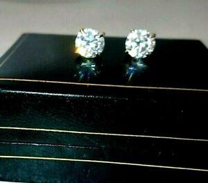 1.60CT DIAMOND MOISSANITE (VVS) 14KT SOLID YELLOW GOLD EARRINGS STUDS CERTIFIED