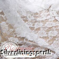 "59"" 150cm Wide White Rose Mesh Lace Fabric for Wedding Dress Table Cloth Runner"