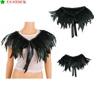 1Pc Iridescent Black Natural Feather Cape Shawl with Choker Collar Costume Decor