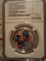 2014 Canada $15 Superman Action Comics  PF70 UC Colorized