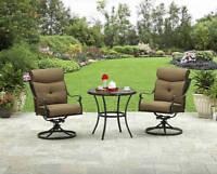 3 Piece Patio Bistro Seating Set Outdoor Home Furniture Garden Aluminum Cushions