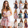 Womens Strappy Wrap Floral Boho Mini Dress Ruffle Summer V Neck Sundress Holiday