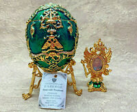 Russian Faberge Egg Box Green Gold Tsarevich Egg (3.9''). Made in Russia