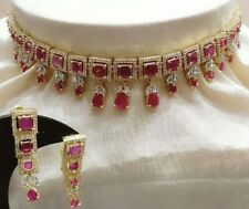 Indian Bollywood Love AD Sparkled Fashion Back Yellow Pink Necklace Earring Gift