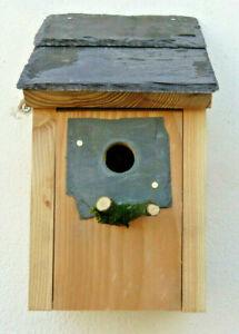 Wild Bird Nest Box House Wood Natural Welsh Slate 25mm Hole Blue Tits