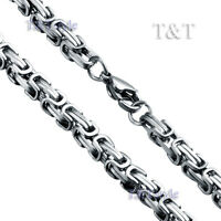 T&T 5mm 316L Stainless Steel Square Chain Silver (C06)