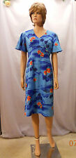 "Vtg 70's Blue Palm & Red Hibiscus ""Royal Hawaiian"" Dress w Short Bell Sleeves 12"