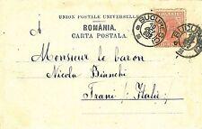 ROMANIA - POSTAL HISTORY: POSTCARD to ITALY 1902