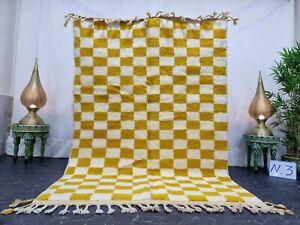 "Handmade Moroccan Beni Ourain Rug 5'2""x7'7"" Checked Berber White Yellow Carpet"