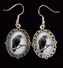 Edgar Allan Poe The Raven Antique Silver Drop Earrings Goth/Victorian/Steampunk
