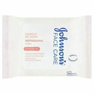 Johnson's Make-Up Be Gone 5-in-1 Wipes - 25 Wipes FREE FAST DELIVERY