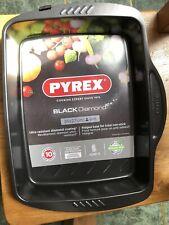 Pyrex Black Diamond 35 x 27cm Easy-Grip Rectangular Roasting Tray