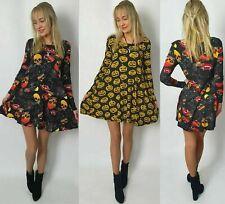 Vestido De Fiesta para mujeres Largo Maxi Vestido Damas Calabaza de Halloween Acampanada Swing 8-22