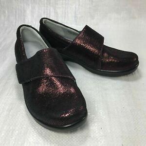 Alegria Lauryn LAU 869 Burgundy Metallic Leather Slip On Comf Women Clogs Sz 37
