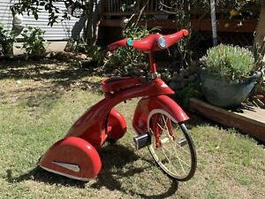 """Vintage Sky King Tricycle AFC Airflow Repro 16"""" Front Wheel - Red — PICK-UP ONLY"""