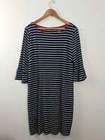 Jacqui E Striped Shift Dress Women's Size XL Exposed Zip Navy & White Pockets