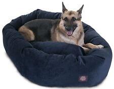 "New 52""x 35"" Large Breed Dog Bed Micro Velvet Big Pet Bagel Bed Navy Blue"